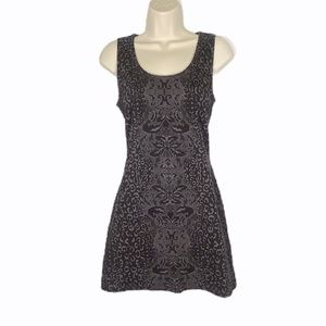Athleta Black & Grey Damask Print Sleeveless Dress